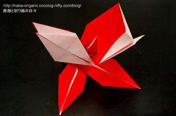ユリ+鶴2羽の折る過程