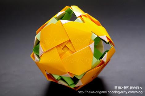 平面のバラ(創作:中 一隆)によるくす玉