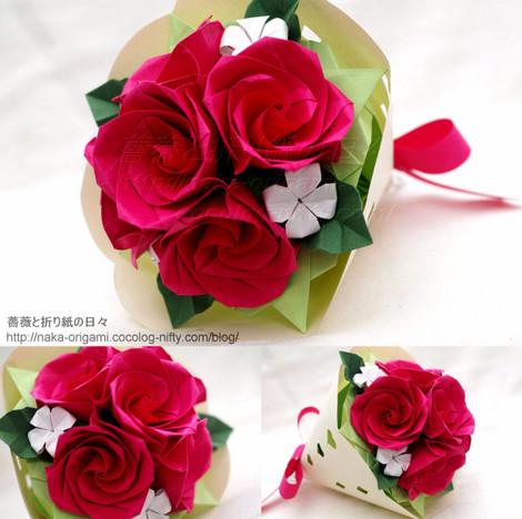 2019年1月27日花の折り紙一日講座 講習作品 バラ(C3)の花束