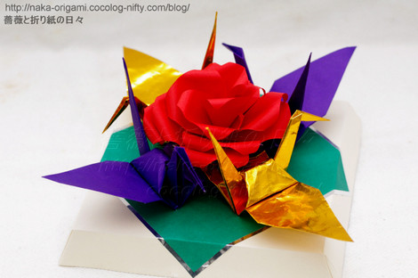 バラと鶴のお正月飾り2019 創作:中 一隆