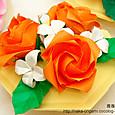 鶴の基本形から折るバラ テーブルアレンジ-3