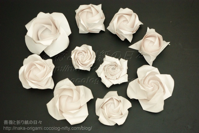 さまざまな折り紙のバラ(1)