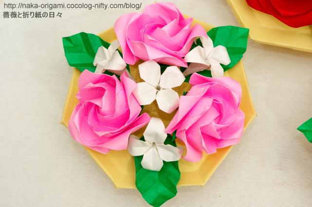 鶴の基本形から折るバラ テーブルアレンジ-2