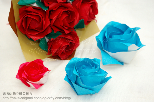 すべての折り紙 バラ作り方 折り紙 : 普通の折り紙で折る川崎ローズ ...