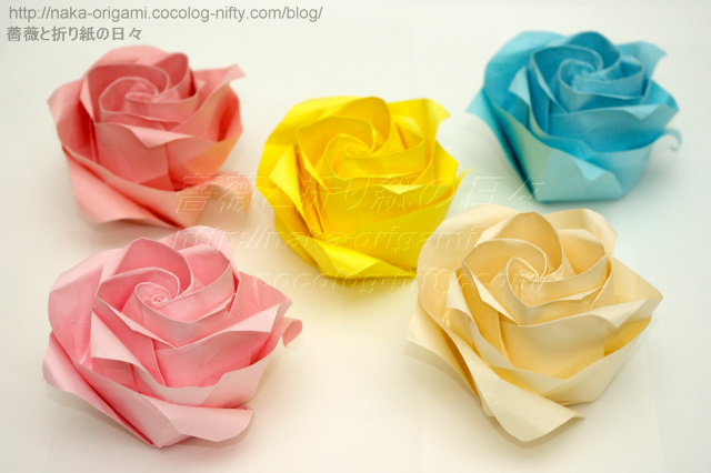 ハート 折り紙 折り紙川崎ローズ折り方 : naka-origami.cocolog-nifty.com