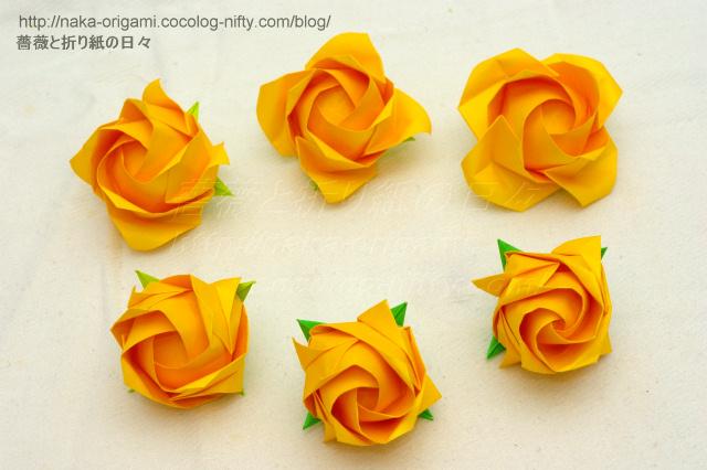 すべての折り紙 折り紙 天使 折り方 : 咲き具合(表情)を変化させた ...