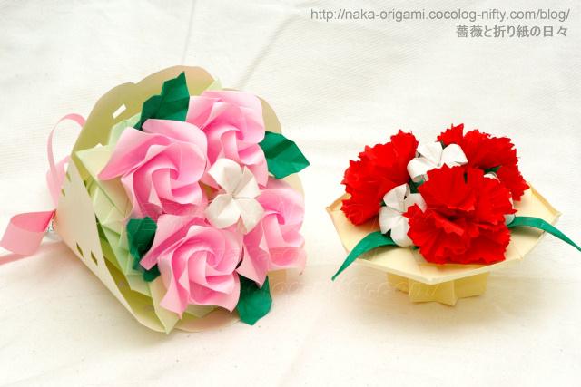 ねじり折りバードベースローズの花束とカーネーションのテーブル花