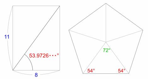11対8の長方形と五角形の内角