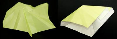 2つの尾根ラインが同じ高さに重なるよう折り目をつける