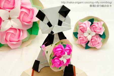 パンダ(笠原邦彦氏)と小さなバラの花束