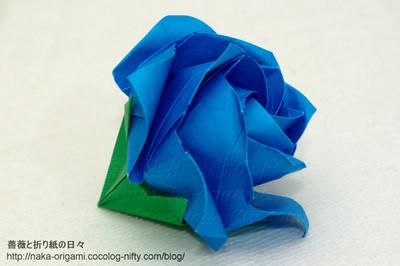 ねじり折りバードベースローズ5角形+2重中割り折りx2
