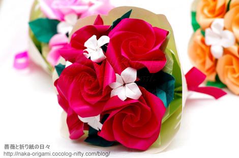花芯TypeK+を使ったバラの花束アレンジ
