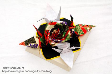 バラと鶴のつなぎ折り