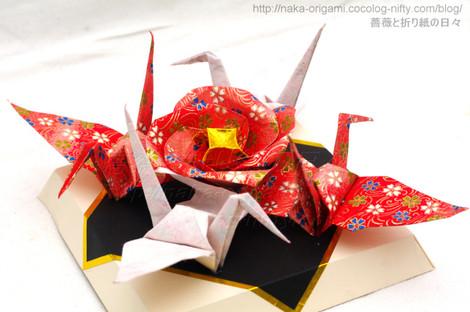 椿と鶴のつなぎ折り