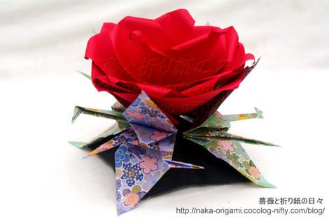 薔薇(U6w-4)と鶴のお正月飾り