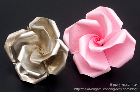 純銀と折り紙のバラ(U7-4) 創作:中 一隆
