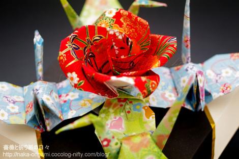 バラと鶴のお正月飾り2018 創作:中 一隆