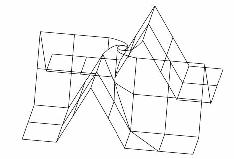 折り図のお絵描き ー3ねじり折りのバラ組み立て図(ワイヤーフレーム)