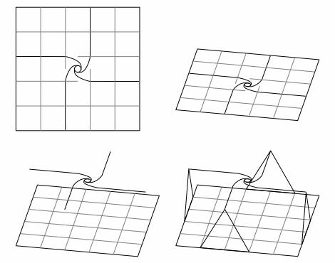 折り図のお絵描き ー3ねじり折りのバラ組み立て図(上面図からワイヤーフレームへ)