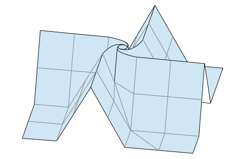 折り図のお絵描き ー3ねじり折りのバラ組み立て図