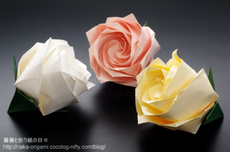 不切正方一枚折りの薔薇F3 創作:中 一隆