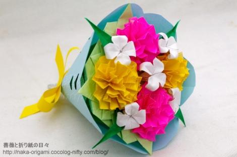 カーネーション(六角充填)の花束 創作:中 一隆