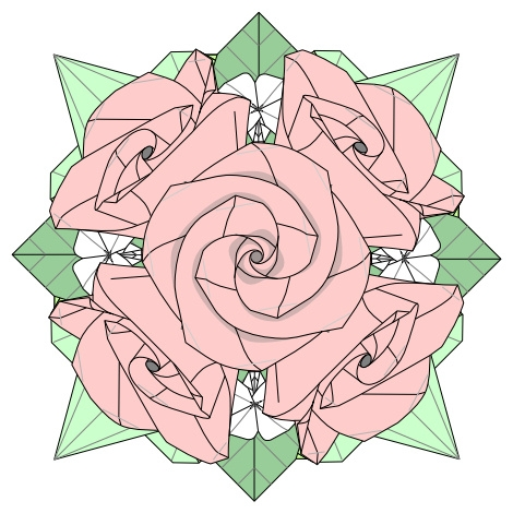 バラの花束折り図 創作・作図:中 一隆