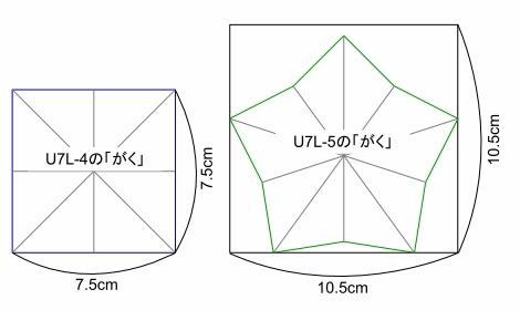 「折り紙のバラとくすだま」補足追記 U7L-5のがくサイズ ( p62)