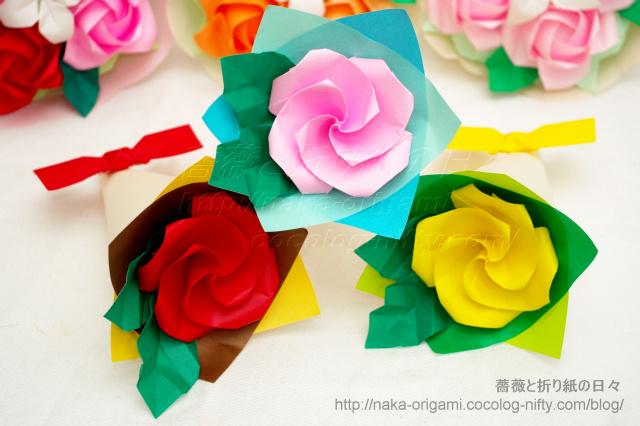 折り紙教室2013年冬 作品サンプル バードベースローズの小さな花束