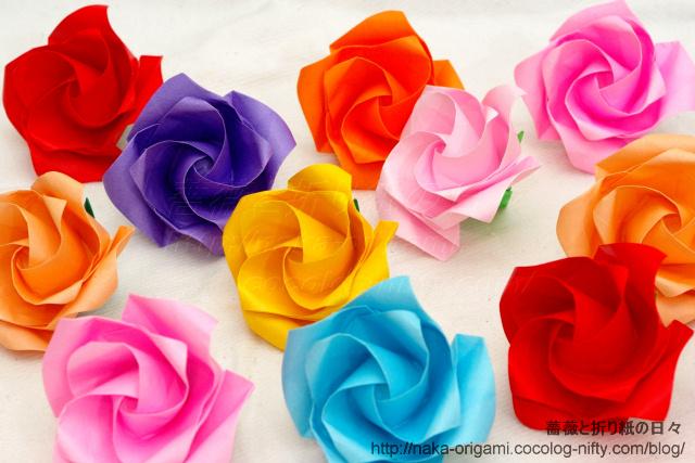 鶴の基本形から折る「やさしいバラ」