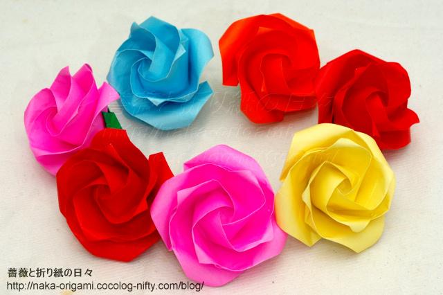 鶴の基本形から折るバラ