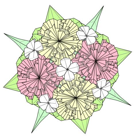 カーネーションの花束折り図 創作・作図:中 一隆