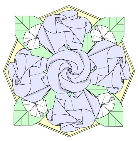 バラのテーブルフラワー折り図 創作・作図:中 一隆